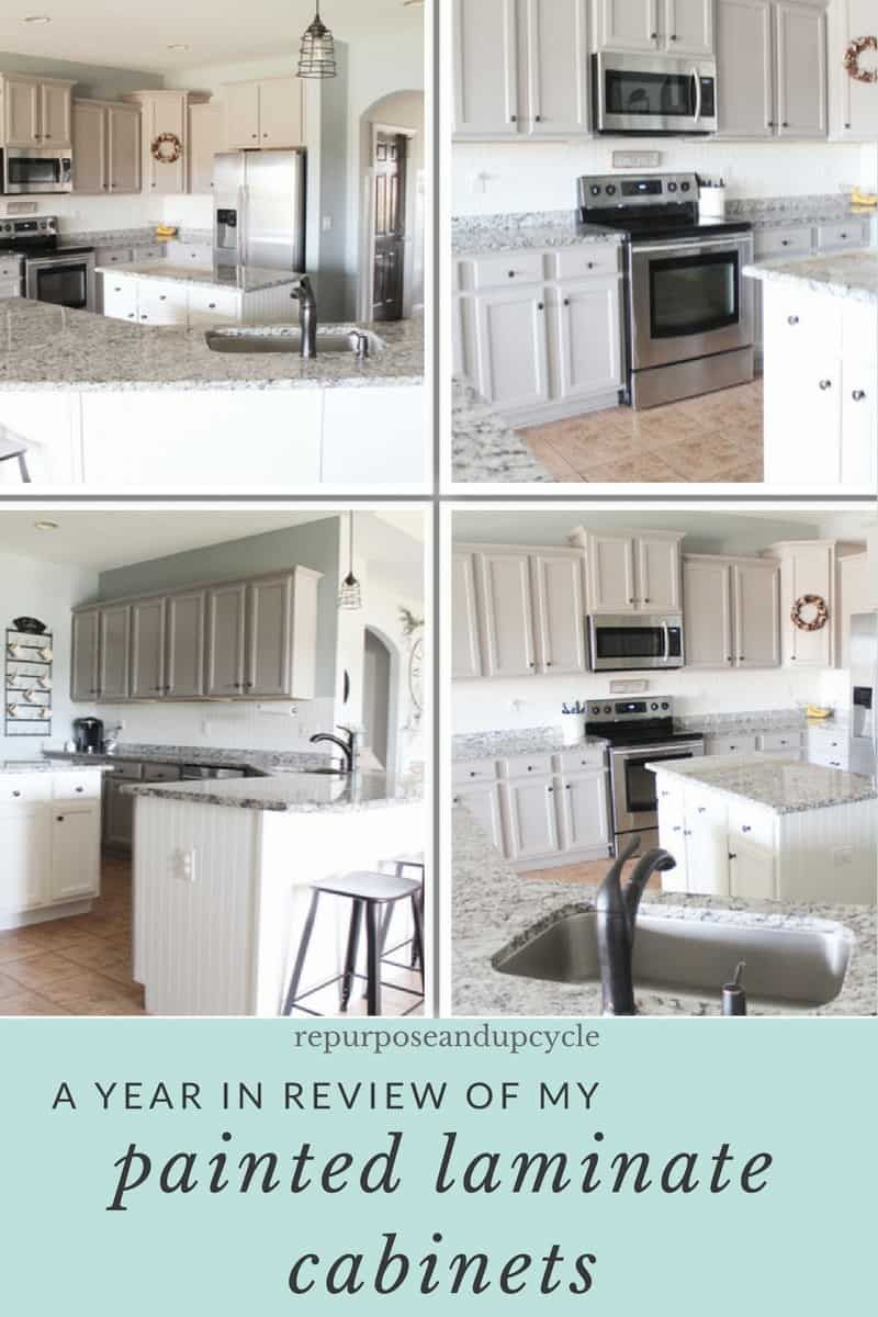 A Year In Review Of How I Painted My Laminate Cabinets With Two Methods Laminate Cabinets Painting Laminate Kitchen Cabinets Laminate Kitchen Cabinets
