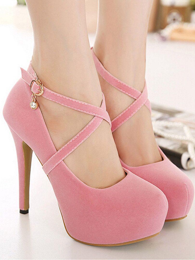 48e0d8b2e Pink Cross Strap Crystal Drop Platform High Heels   Shoes:Heels ...
