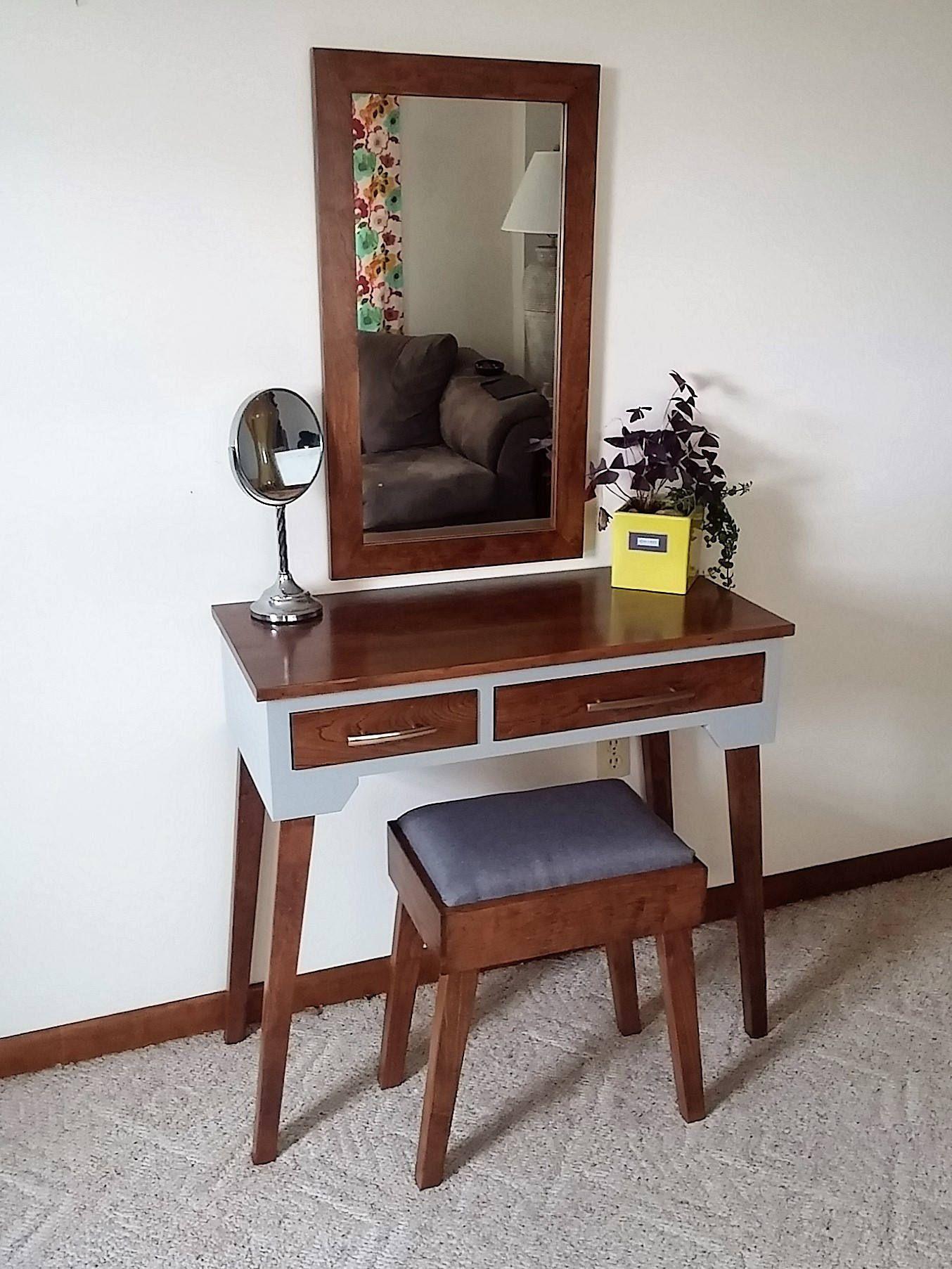 Mid Century Modern Espresso Cherry Makeup Vanity Table in