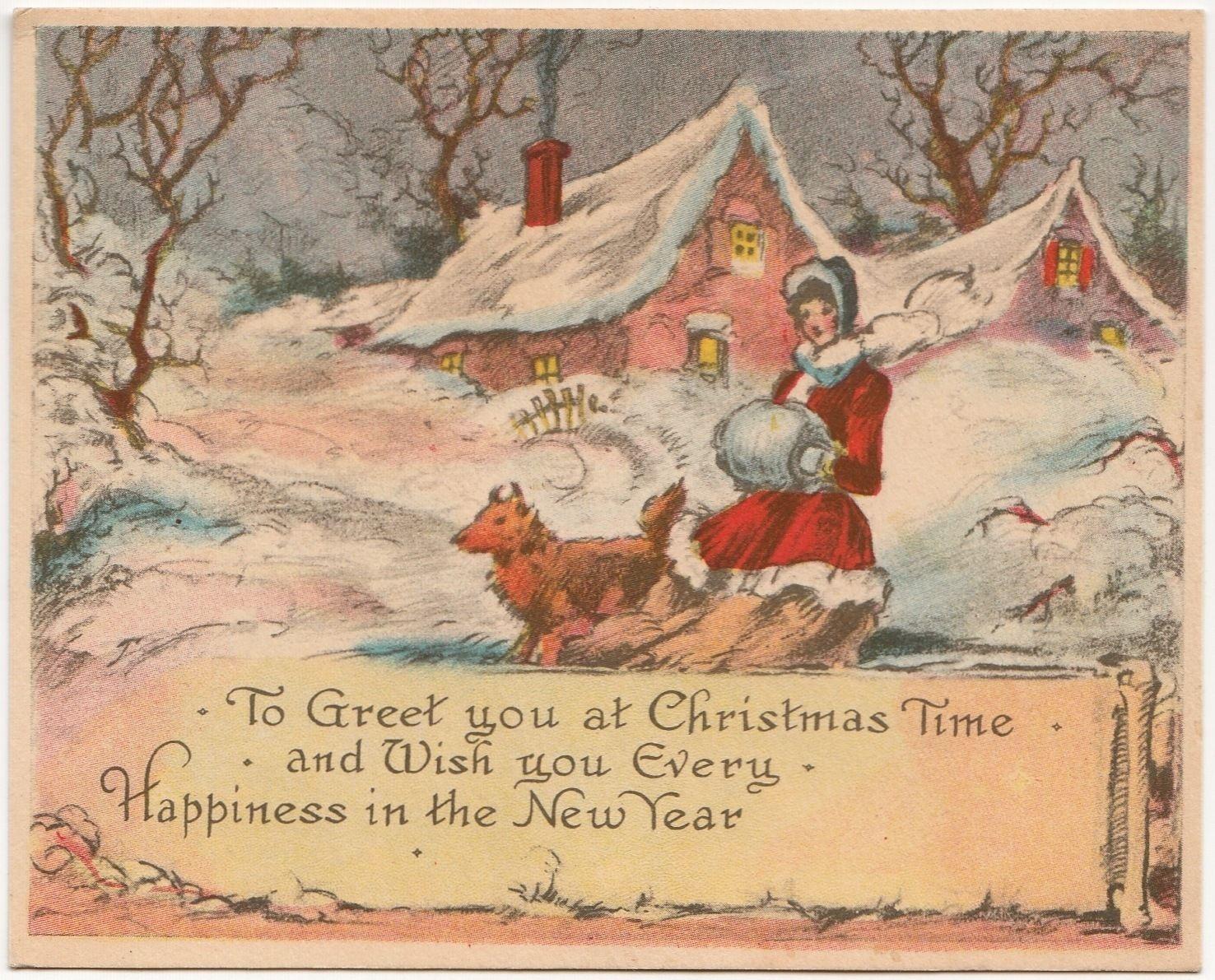 Christmas house with snow art - Vintage Single Layer Greeting Card Christmas Lady Dog House Snow Art Deco A197 Ebay