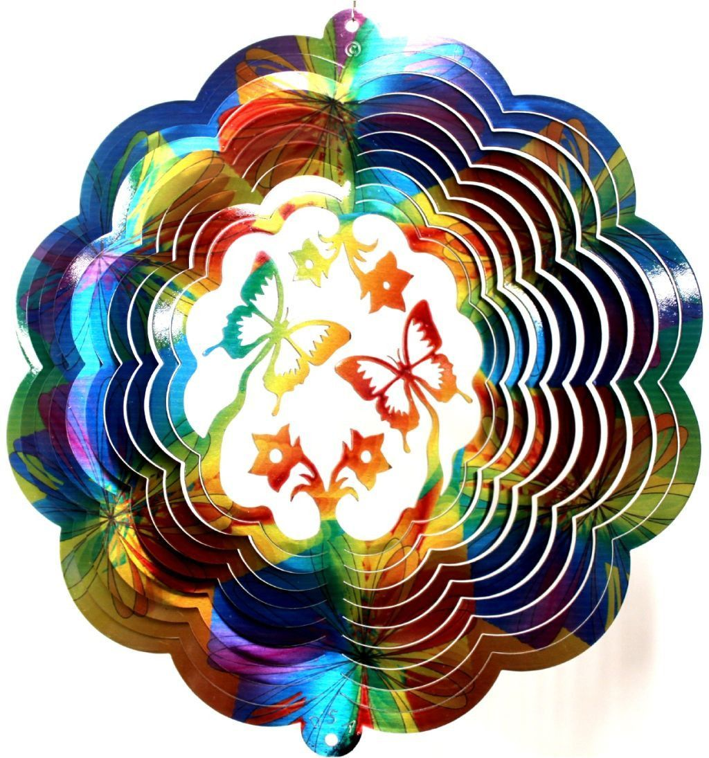 Spinning garden decorations - Butterfly 3d Tie Die Print Wind Spinner Metal Yard Art And Outdoor Decor 12 Inch