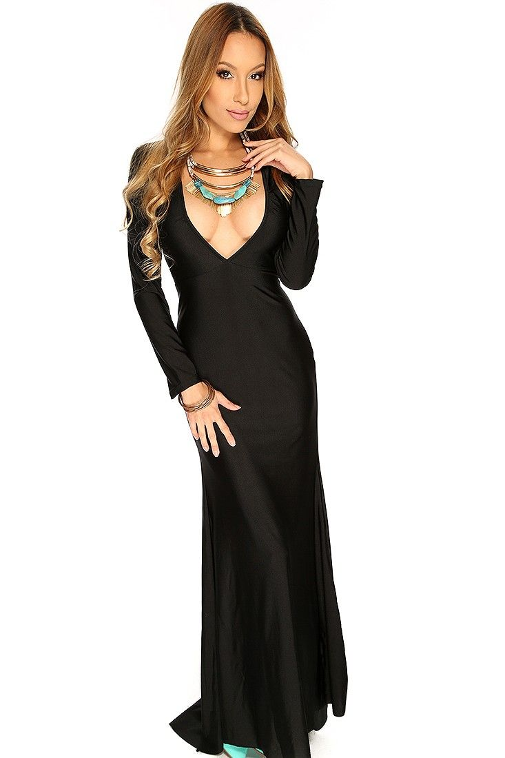 Black vneck long sleeve sexy maxi prom dress maxis clothing and