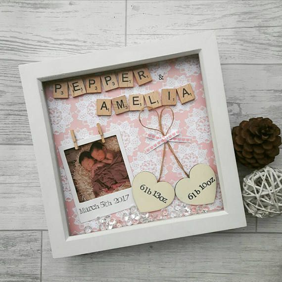 New Baby Frame, Newborn Gift, Gift For Twins, Present For New Baby ...