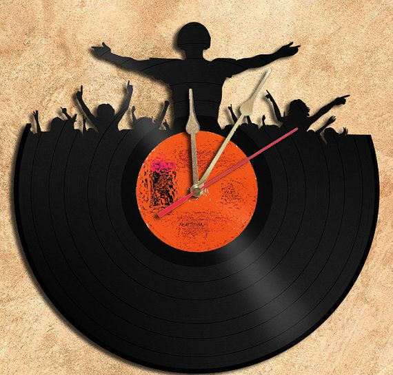 DJ Party  Theme Vinyl Record Clock Upcycled vinyl records Great Gift