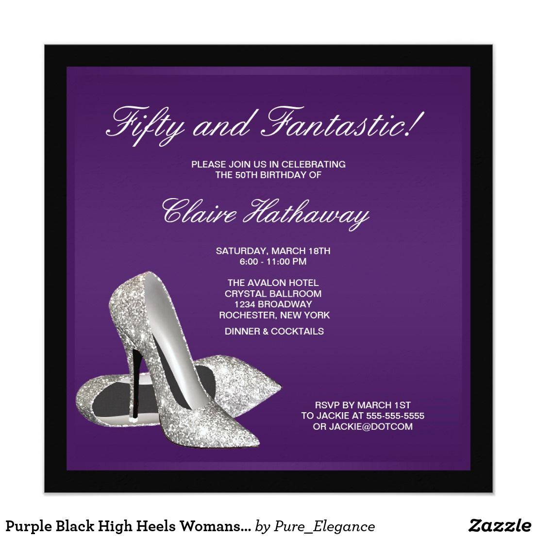 Purple black high heels womans th birthday card invitation cards