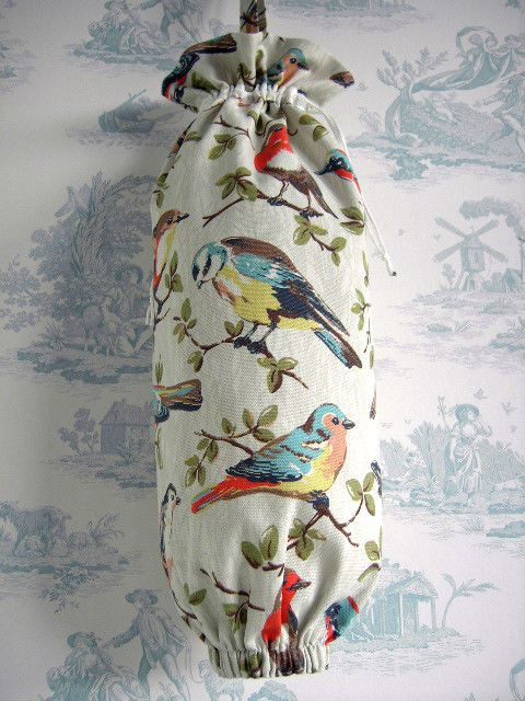 Cath Kidston fabric Large handmade Carrier bag storage/holder Garden Birds New & Cath Kidston fabric Large handmade Carrier bag storage/holder Garden ...