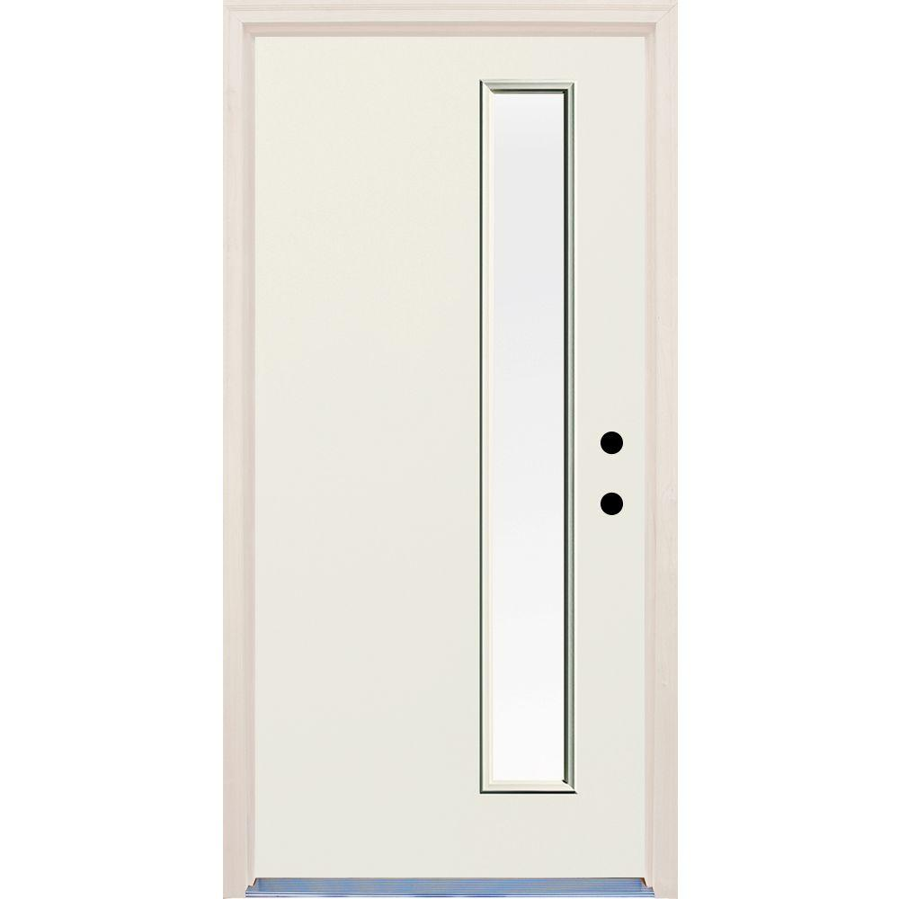 Builders Choice 36 In X 80 In Left Hand 1 Lite Clear Glass Unfinished Fiberglass Raw Prehung Front Door With Brickmould Hdx164310 The Home Depot Front Door Clear Glass Rain Glass
