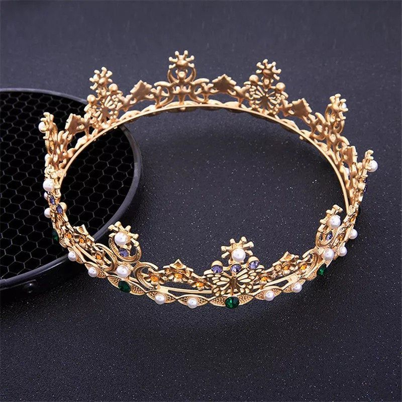 Gold Royal Queen King Bridal Tiaras and Crowns Men/Women Vintage Diadem Headpiece Wedding Bride Hair Jewelry Accessories,gold headpiece