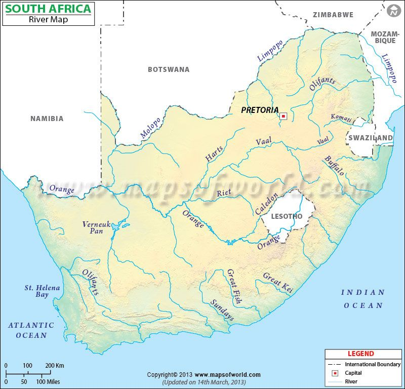 Map Of Rivers Of South Africa South Africa River Map | South africa map, Africa map, Africa