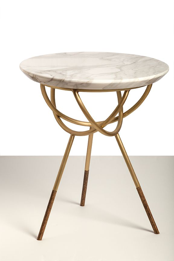 Beautiful Marble Topped Timber And Brass Side Table