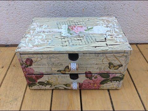 Caja de madera decorada con decapado y decoupage - Decorar cajas de madera manualidades ...
