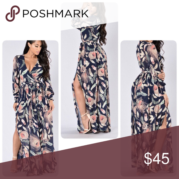 """6e7b85026f6887 Worn once It s called """"Brunch Date Dress- Navy"""" on the website if in case  this isn t your size 珞珞❤ Fashion Nova Dresses Maxi"""