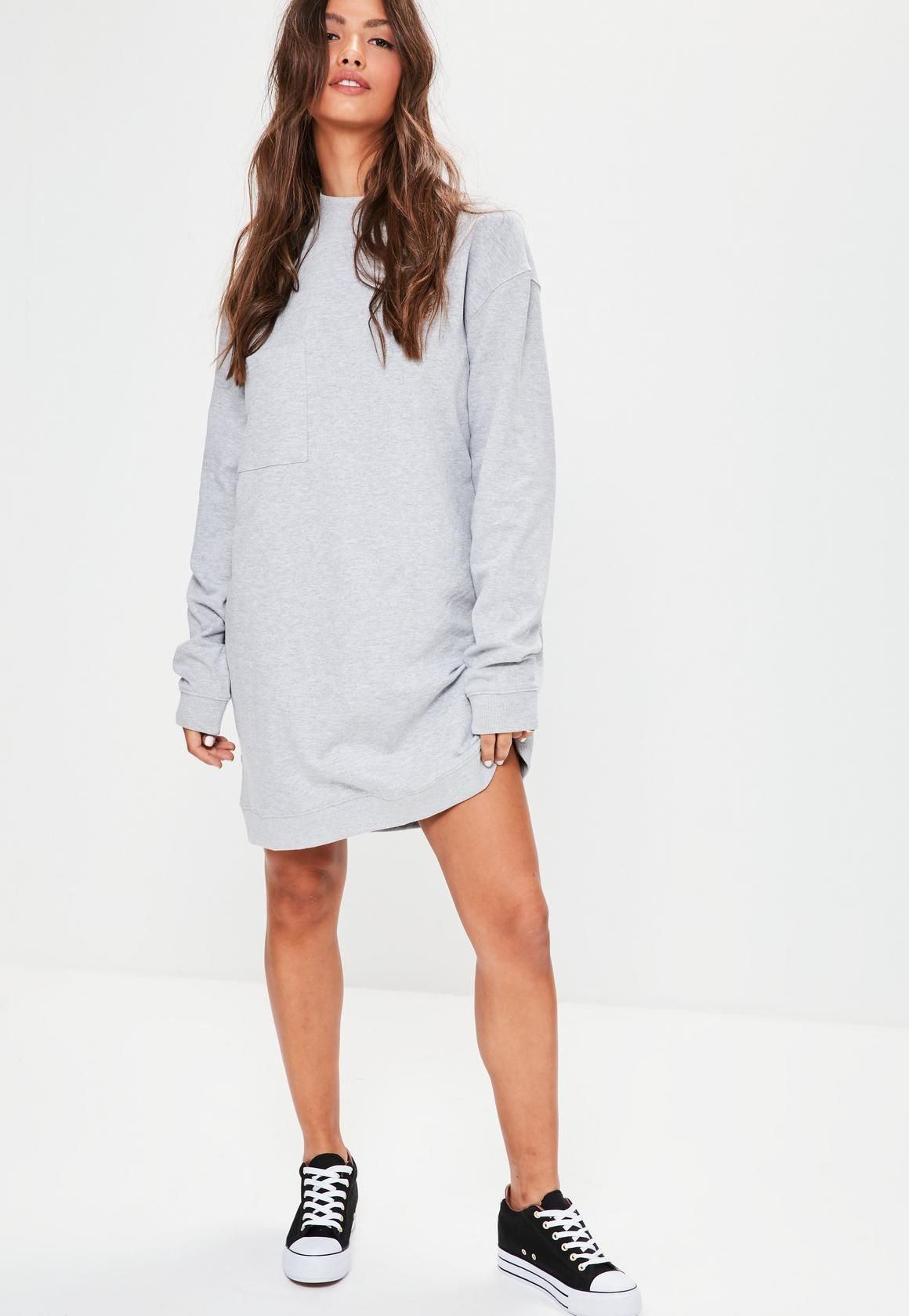 Missguided - Grey Oversized Pocket High Neck Sweater Dress ...