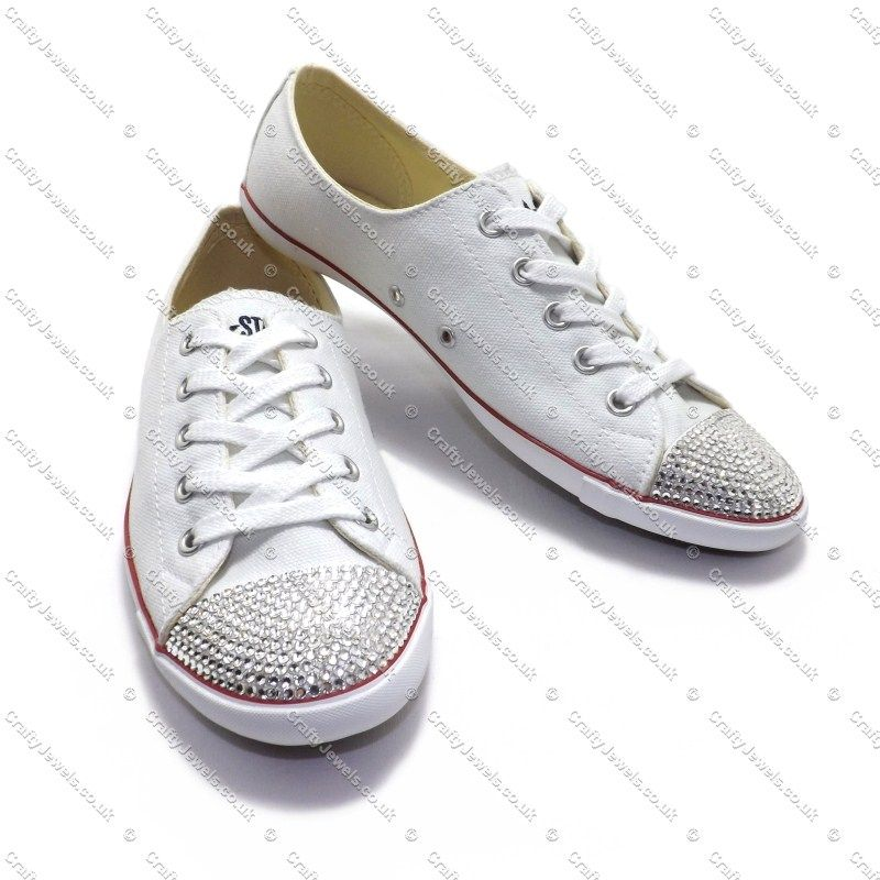 389093698389 Swarovski or Diamante Converse Lights in White
