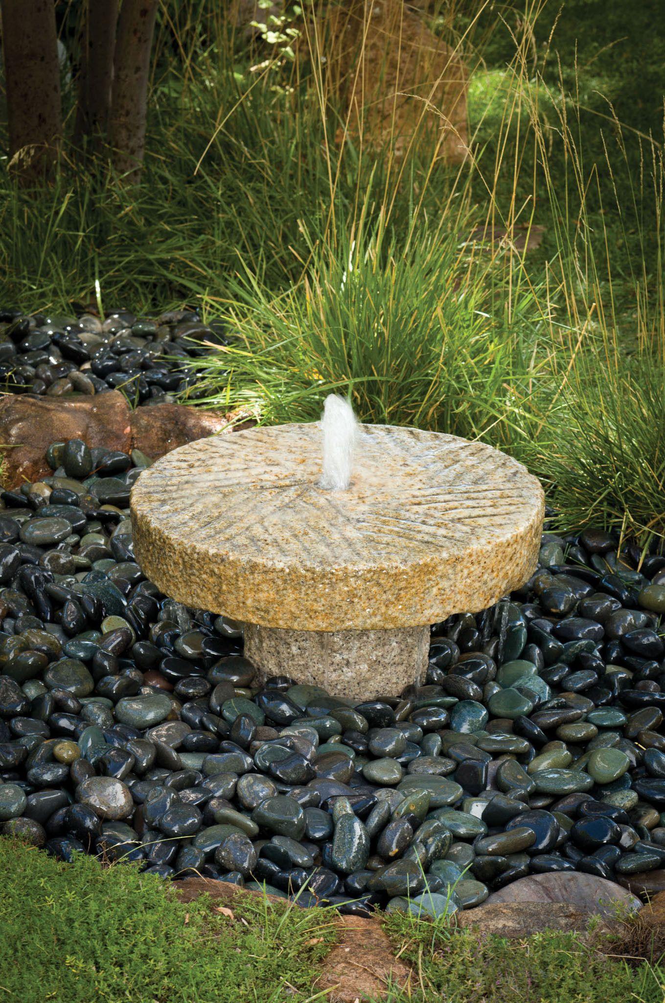 Small Antique Millstone Fountain Stone Fountains Garden Water