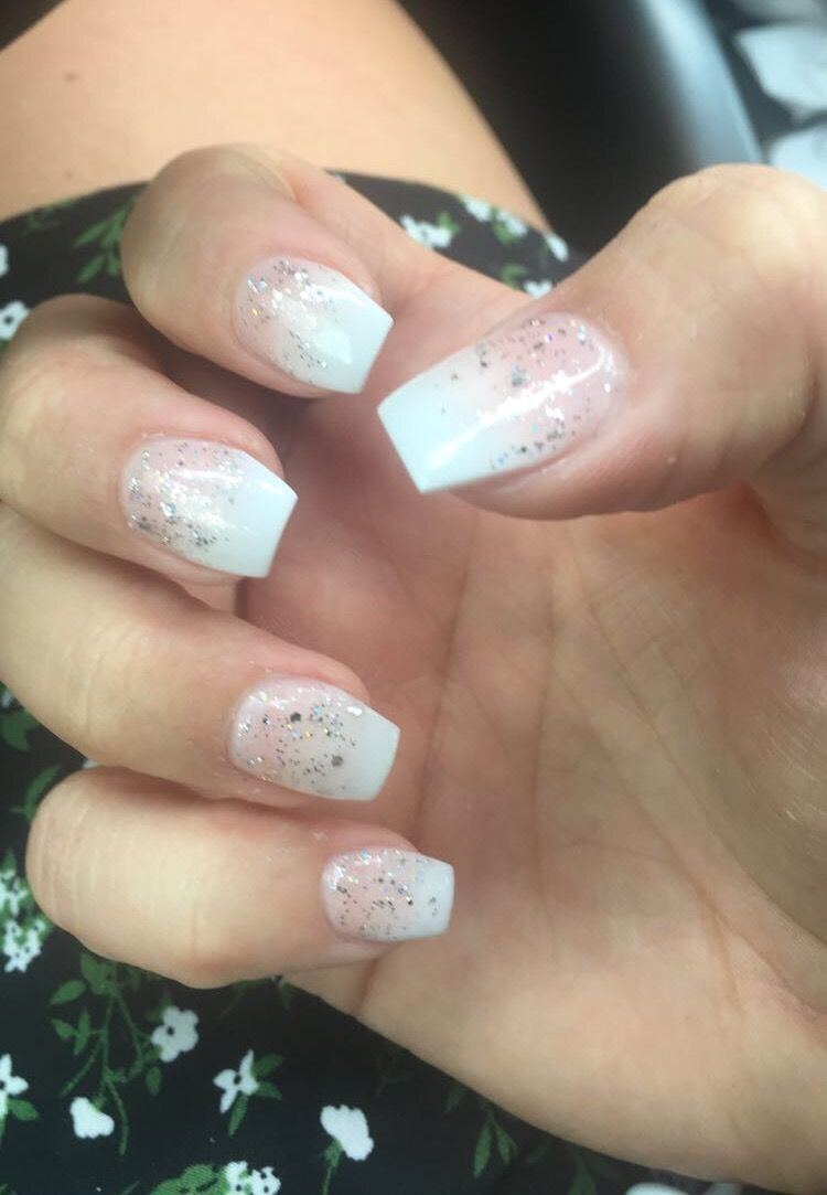 Ombre French Short Coffin Shaped Nails With Glitter With