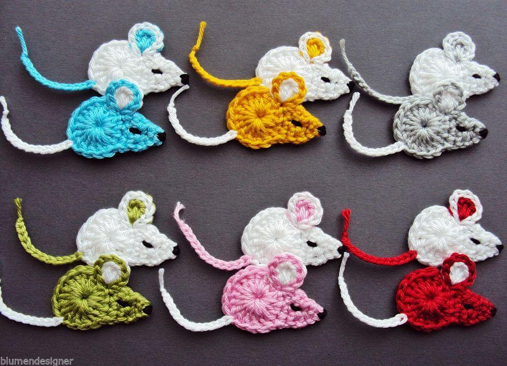 2 Mäuse,Häkelblumen,Applikation,Aufnäher,Häkelapplikation,Maus ...