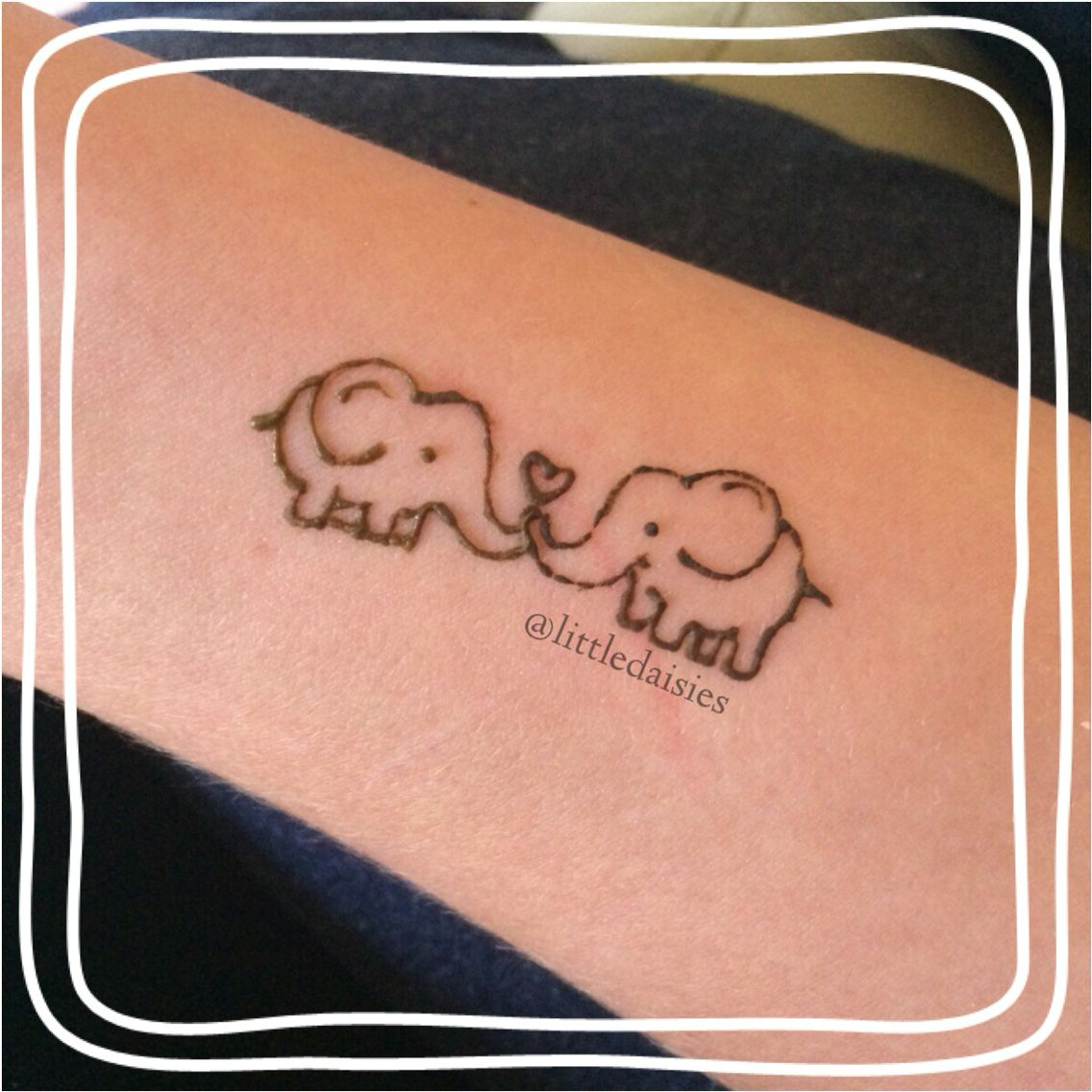 Cute elephant henna design heart love design | Henna ...