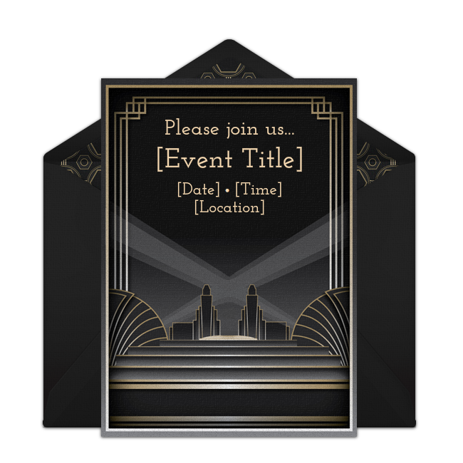 "One of our favorite adult birthday party invitations, ""Gatsby."" Easily personalize and send via email for a Gatsby themed birthday party."