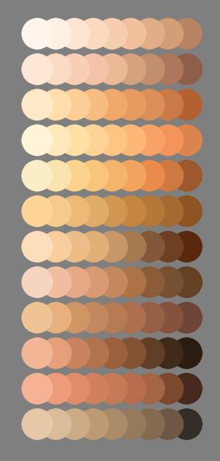 skintones color chart by LilyFu colors skintones skin digital art draw drawing tutorial tutorials
