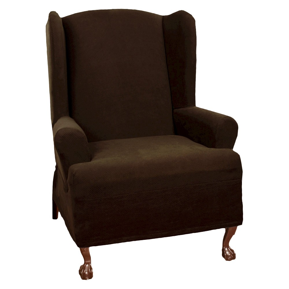 Chocolate (Brown) Stretch Pixel Wingchair Slipcover   Maytex