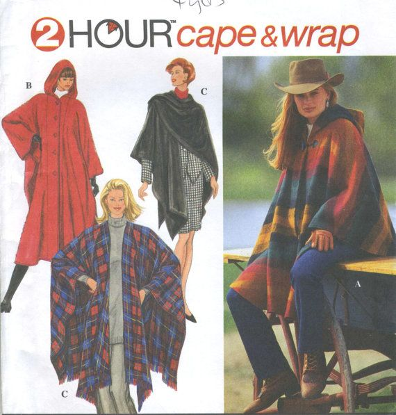 Misses Hooded Wrap Cape Sewing Pattern 2 Lengths Front Closure ...