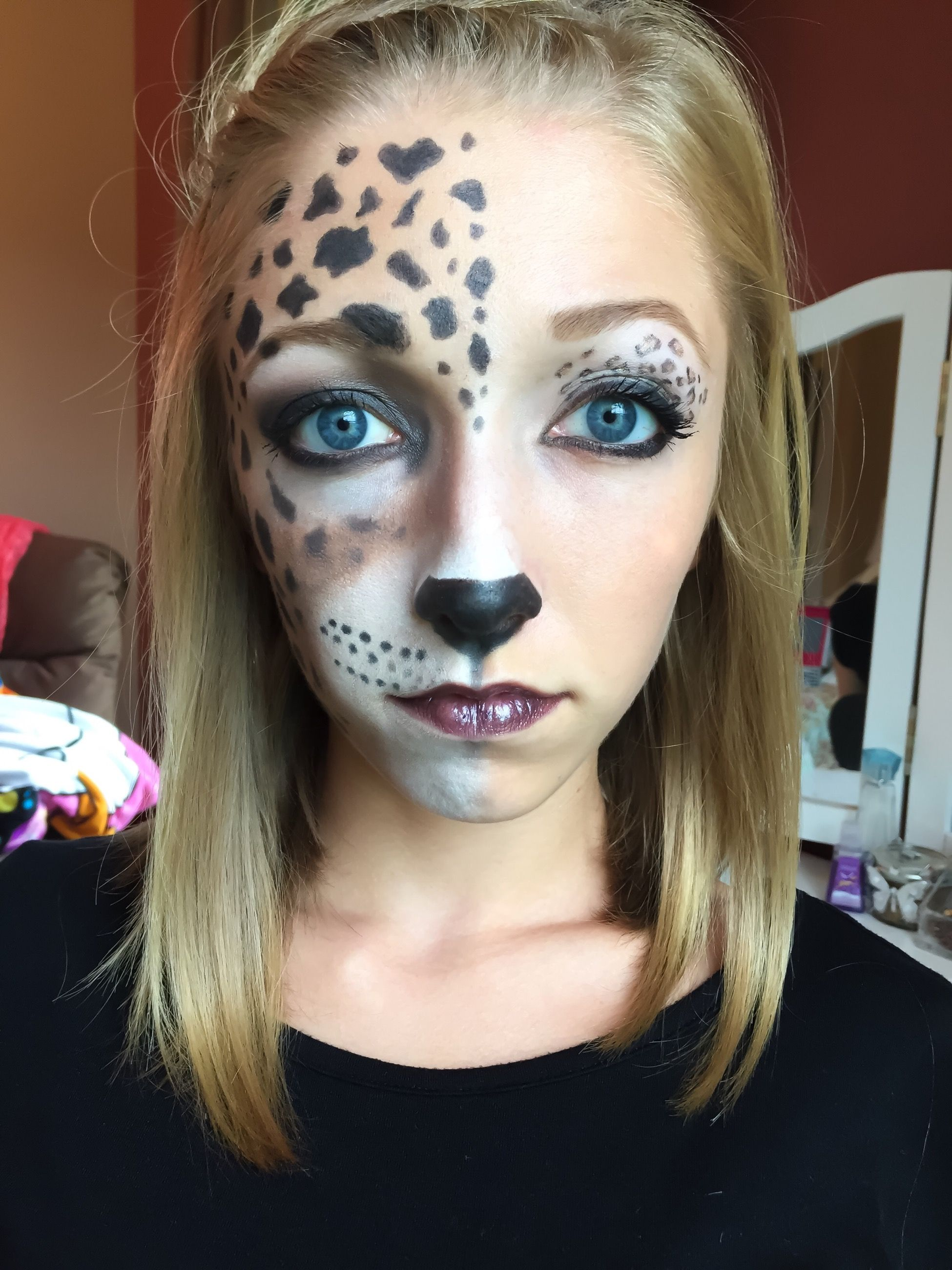 Halloween makeup, half cheetah face, beginner makeup looks