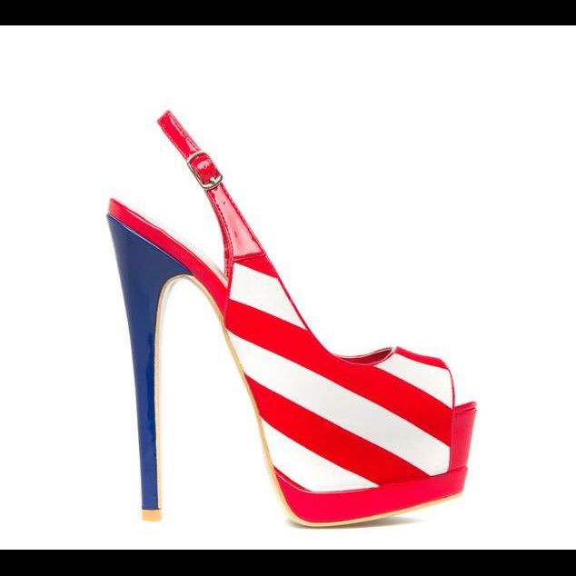 Shoe Dazzle Shoes Heels Color Blue/Red/White Size