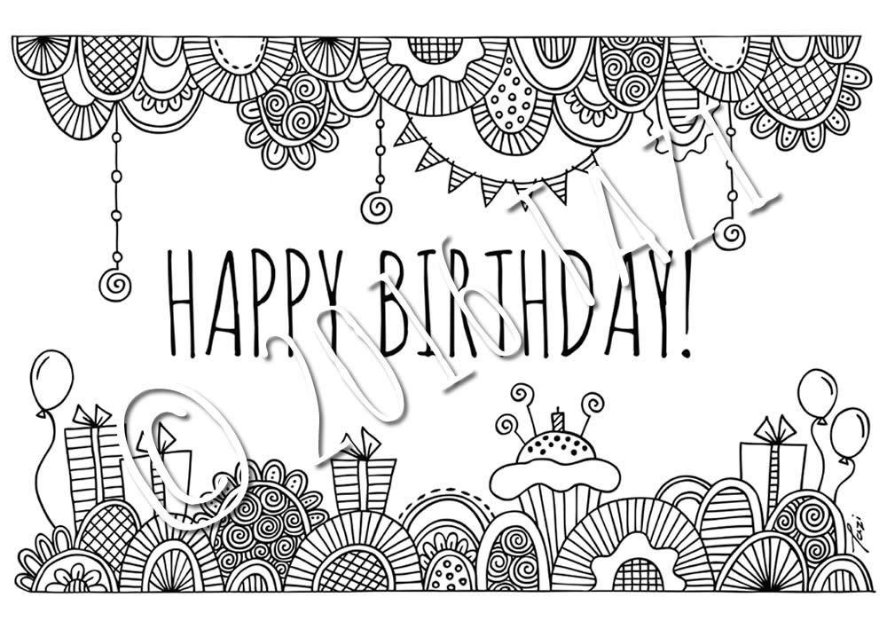 Happy Birthday Colouring Page & Folded Birthday Card ...