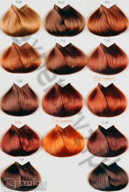 Copper Hair Color Chart
