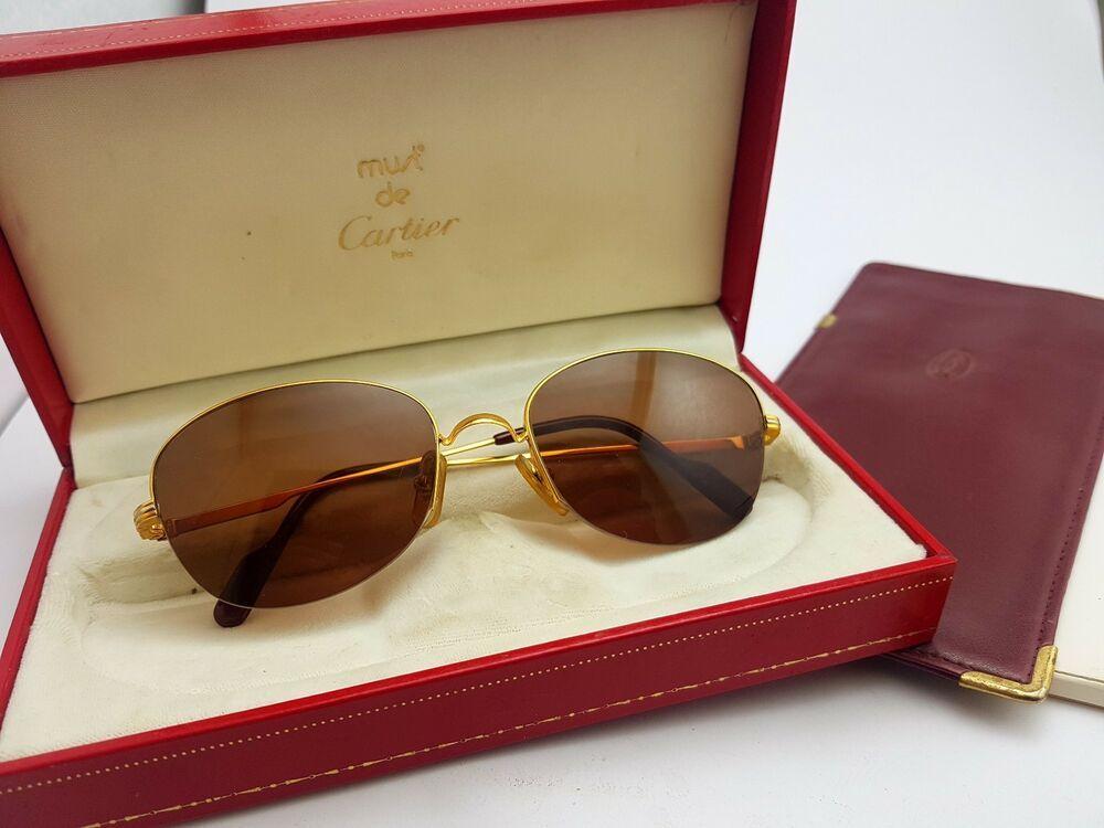 869aafbd90 Cartier MONTAIGNE Half Frame 53M Brown Lenses Vintage Sunglasses France 18k  Gold  Cartier  Pilot