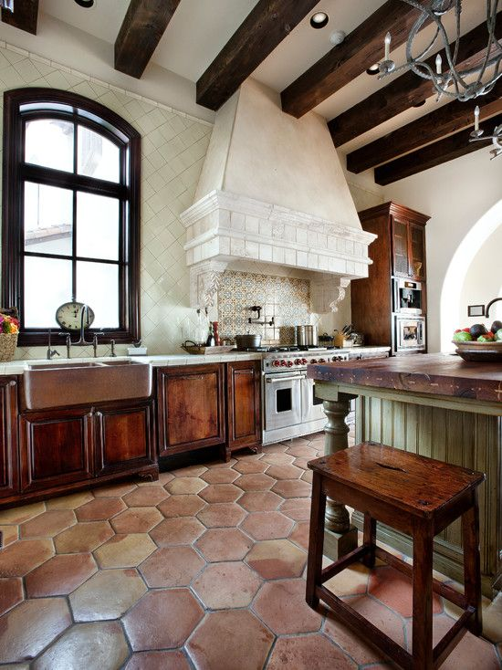 Simple Spanish Home Design With Elegant Interior Design Rustic Kitchen Design Travertine Tile Floor Lake