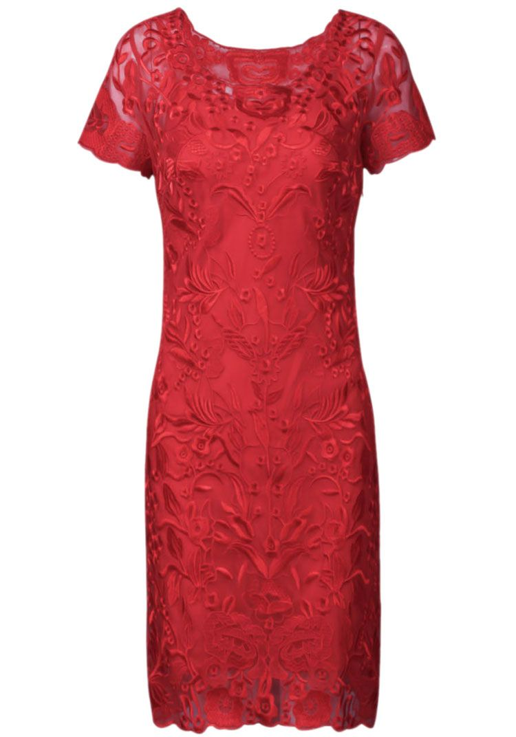 Red short sleeve embroidery mesh yoke dress clothing inspiration