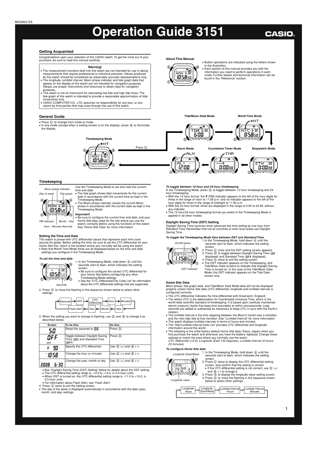 Page 1 of the owner's manual for the Casio Module number