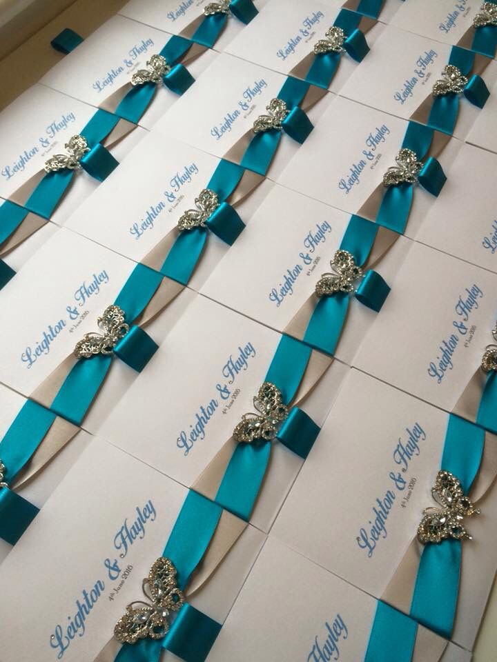 Turquoise And Silver Wallet Wedding Invitations With Diamante Butterfly Jenshandcraftedstationerycouk