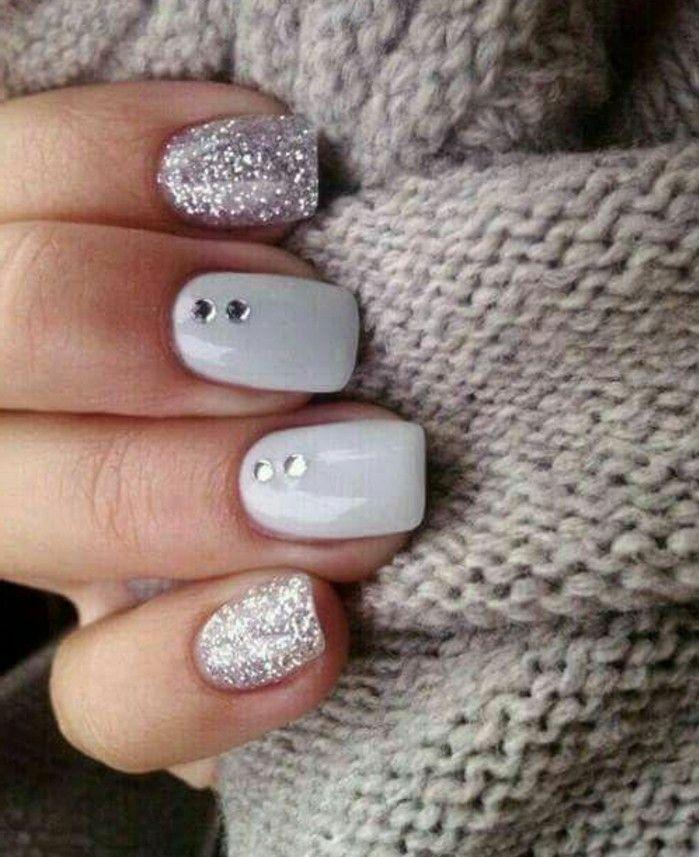 uñas con piedras blanco y gris plata uñas diseño romo uñas brillo st … – Dreher Blog