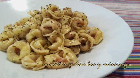 Tortellini de queso con anchoas