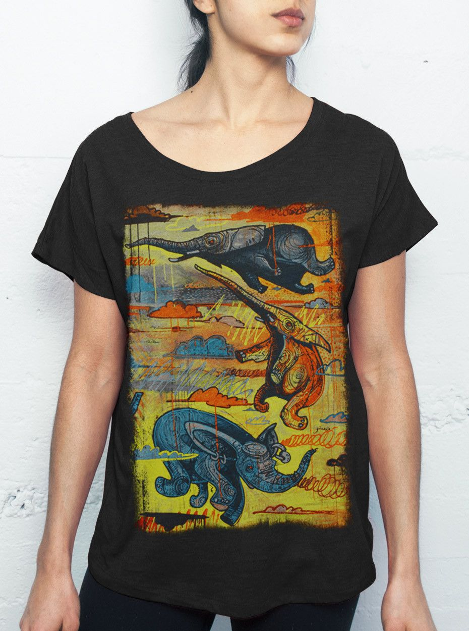 67fd7c677 Flying Elephants - Multicolor on Black Triblend Womens Dolman T Shirt - Curbside  Clothing