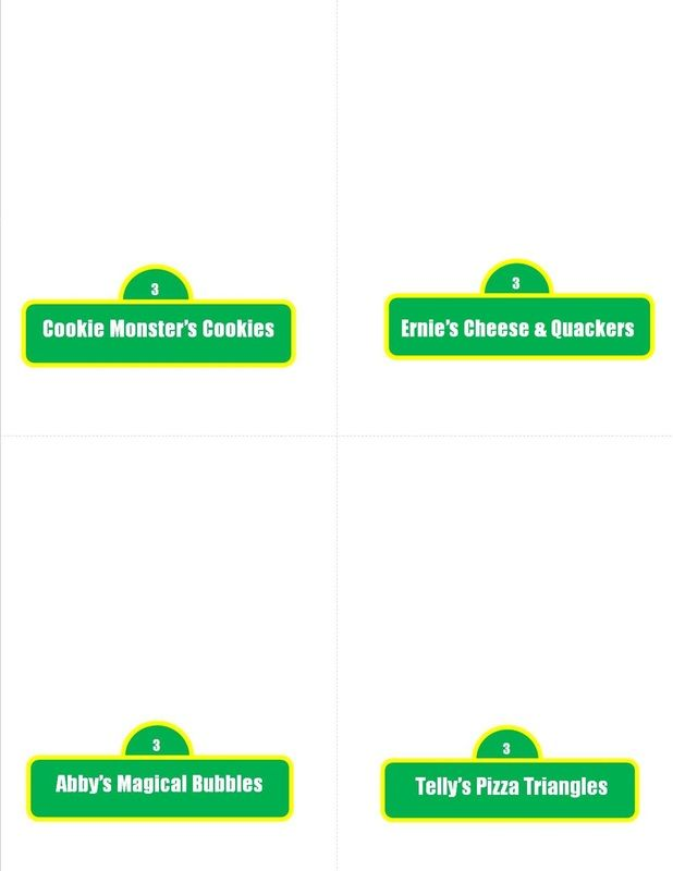 Sesame Street Party Food Tent Cards