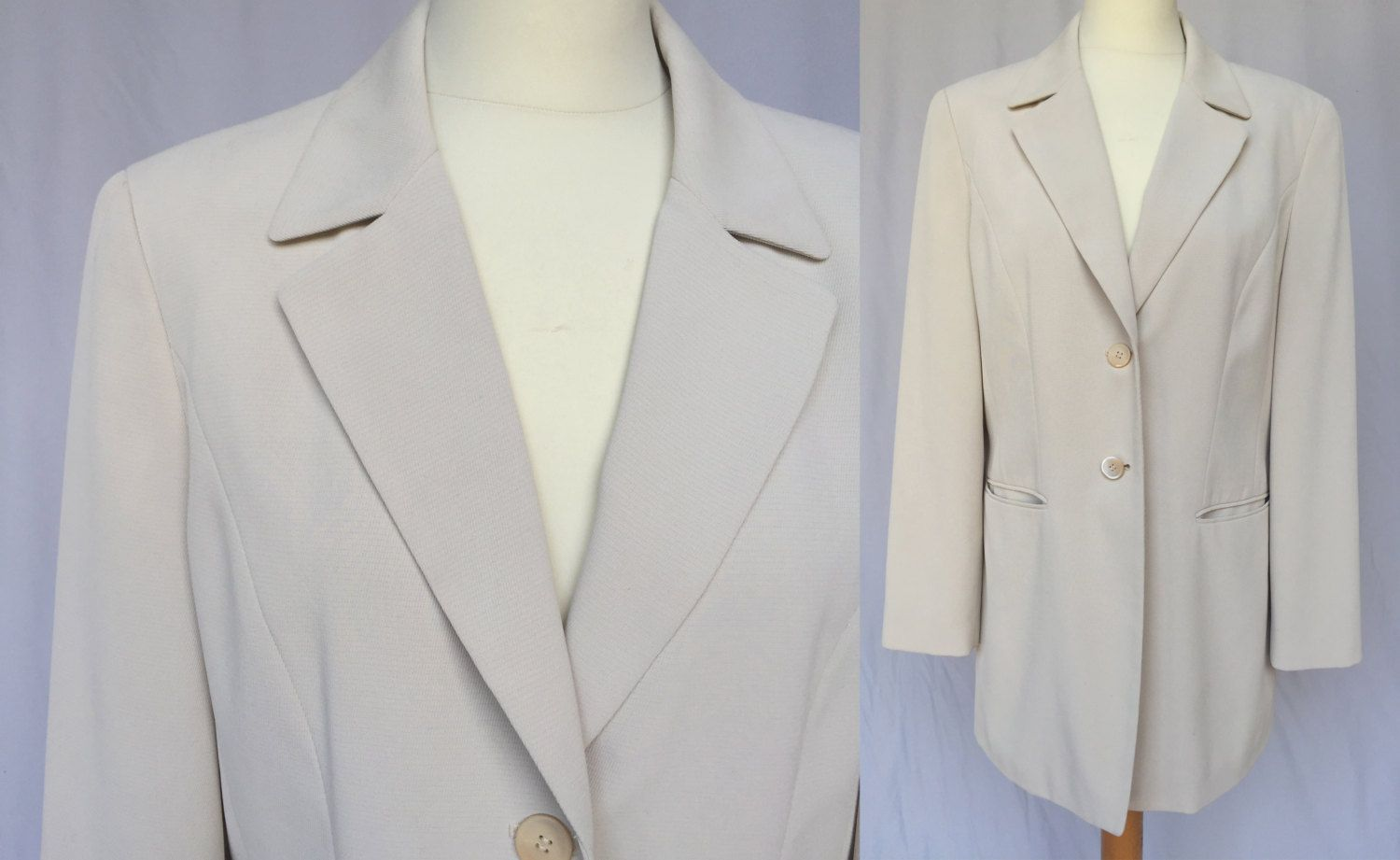 048aaa7a0b02 ... off white formal secretary street style quality jacket Minimalistic  Preppy long Blazer wedding retro top office Size M L by RosaBoutiqueStudio  on Etsy
