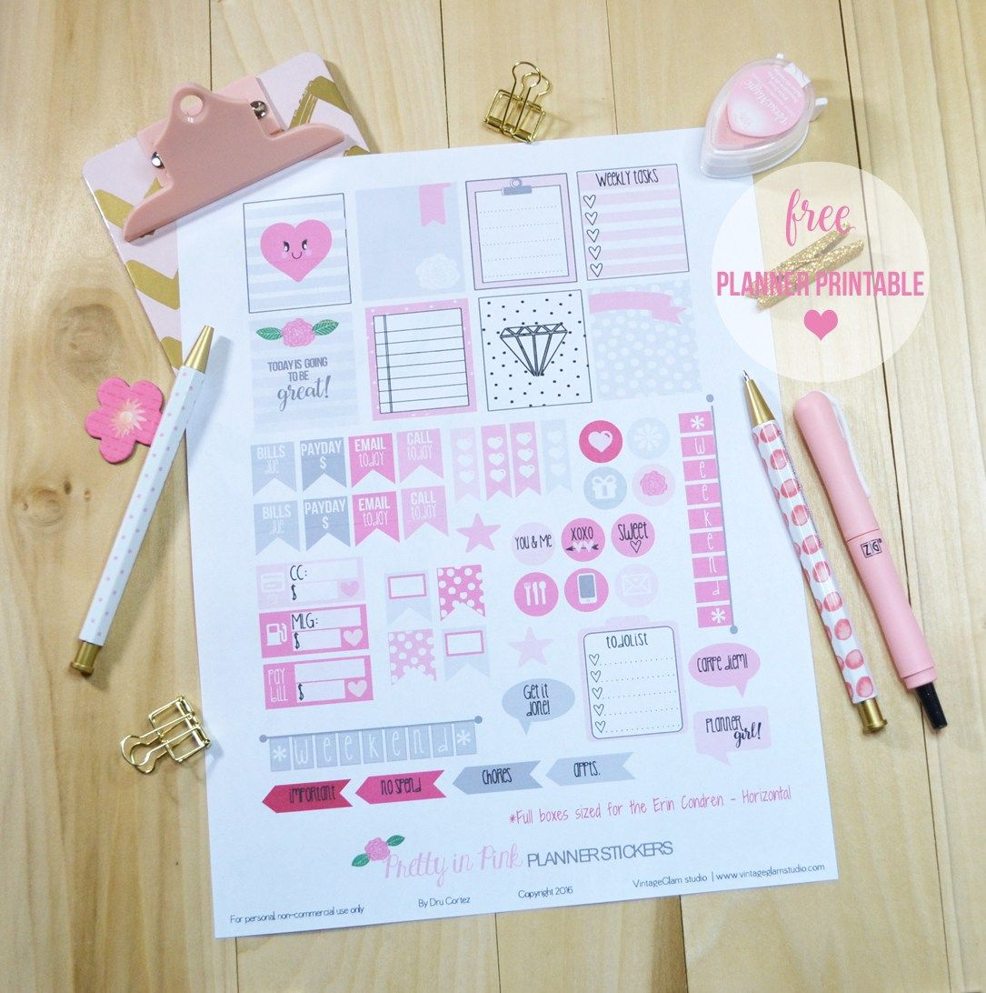 Pretty in Pink Planner Stickers   Free printable, for personal use only