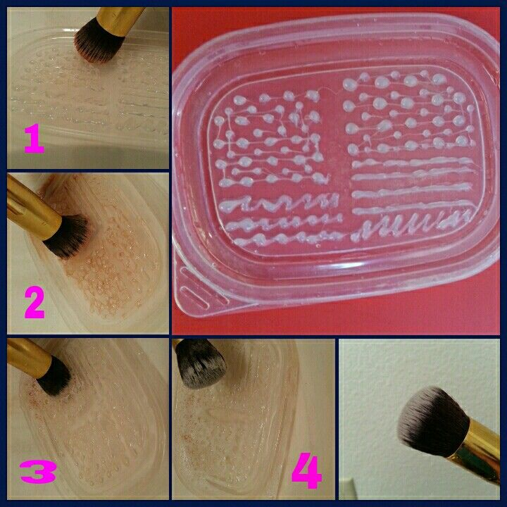 Diy makeup brush cleaning mat or should i say lid. All u need is a plastic lid or board and a glue gun...small dots and large ones and lines should do the ...