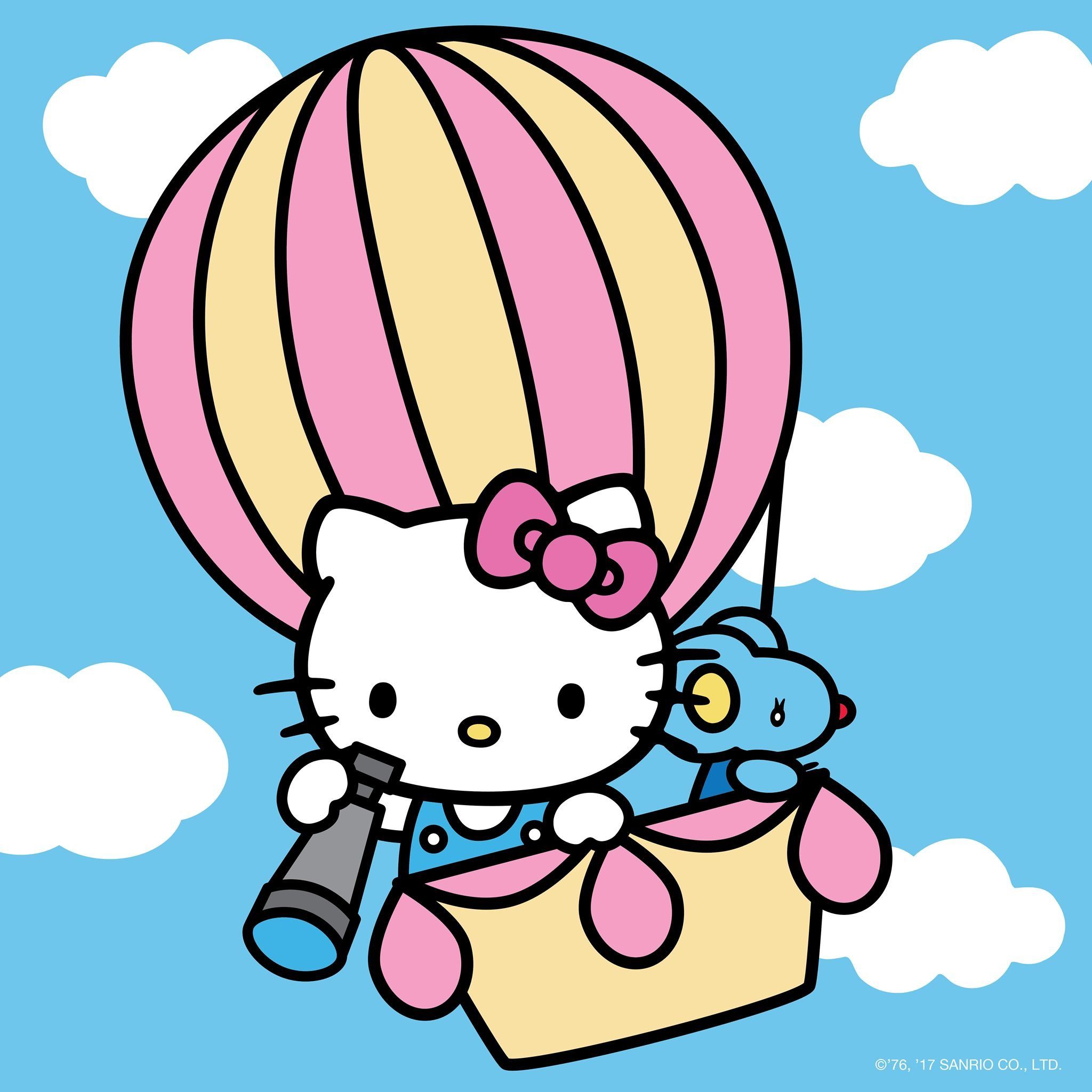Hot Air Balloon Hello Kitty Backgrounds Hello Kitty Coloring Hello Kitty Drawing