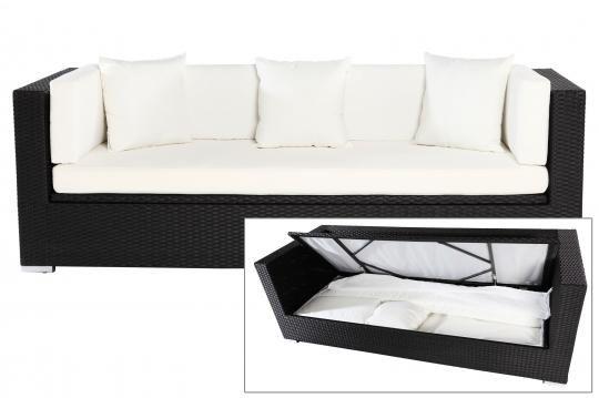 OUTFLEXX Dreisitzer Sofa, Schwarz, Polyrattan, 210x85x70cm, Inkl. Polster +  Wasserfeste