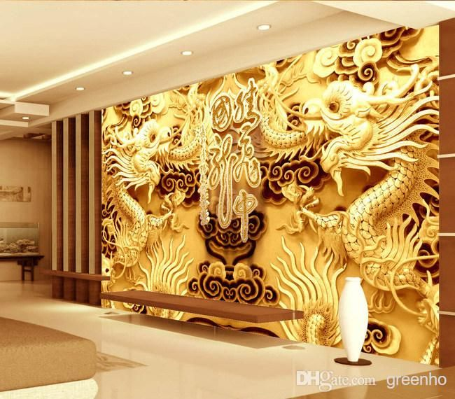 3D Woodcut View Gold Double Dragon Photo Wallpaper Wall Mural Art ...
