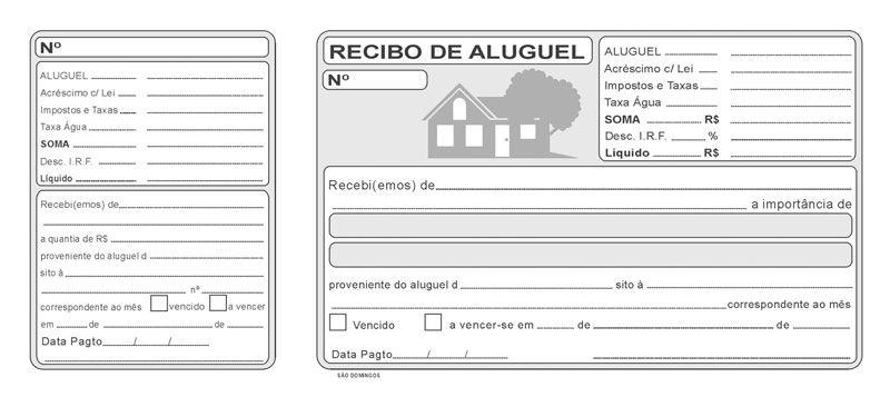 Modelo De Recibo De Aluguel Pronto Para Imprimir Com Imagens