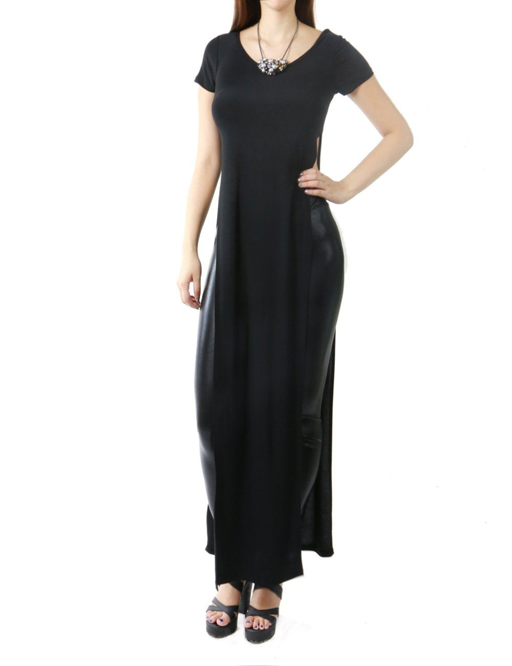 5572278224 Women's Sexy Double Deep Side Split Slit Maxi Dress at Amazon Women's  Clothing store: