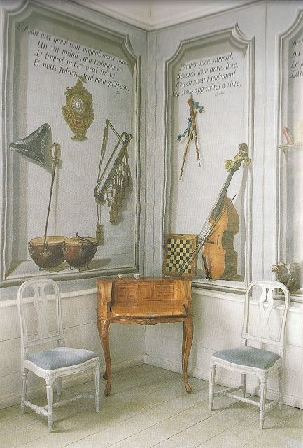 A 'musical' trompe l'oeil in one of the rooms of Akerö in Södermanland, Sweden