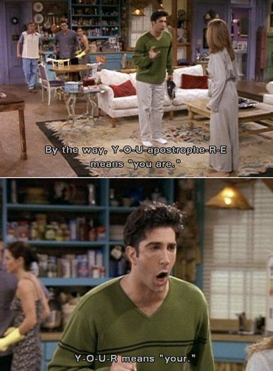 """Everyone thinks I'm weird because Ross is my favorite, but case.in.point. Now I just need to find him yelling """"PIVOT! PIVOT!"""" And maybe doing that funky little dance when Phoebe and Rachel distract him to keep him from seeing Monica and Chandler."""
