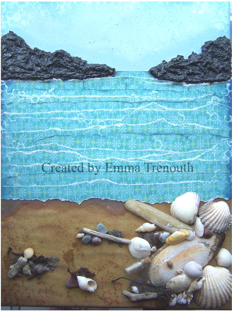 Mixed media canvas, at the beach, seascape, handmade gift, cornish shells